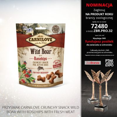 PRZYSMAK CARNILOVE CRUNCHY SNACK WILD BOAR WITH ROSEHIPS WITH FRESH MEAT
